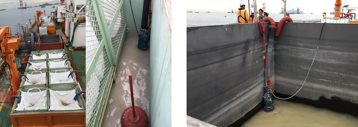 Left: Filtration tank and wash water after filtering, Right: KTZ32.2 inside the sedimentation tank